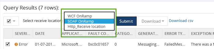 select receive location for esb exception queries