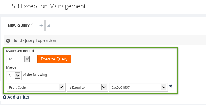 new query in esb exception management