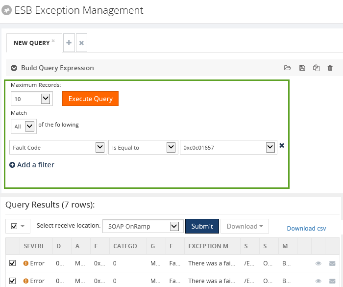 biztalk esb exception management query results