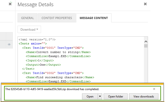 view downloaded esb exception message content