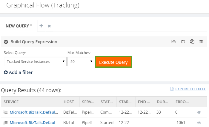 biztalk360 graphical flow tracking query results