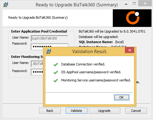 biztalk360 upgrade validation results