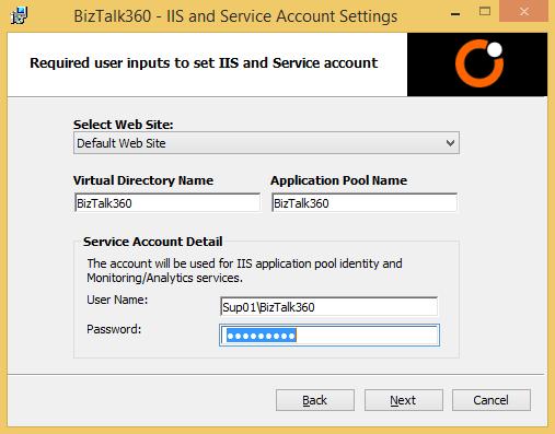 biztalk360 iis and service account settings