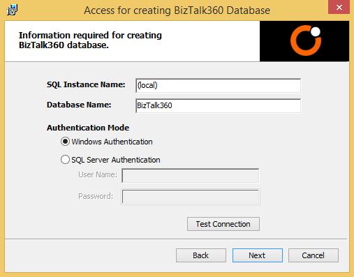 create biztalk360 database