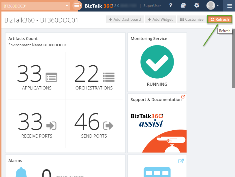 refresh biztalk360 dashboard