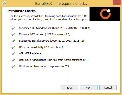 biztalk360 installation prerequisite checks