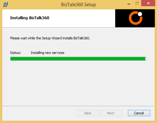 installing biztalk360 progress