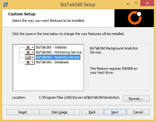 biztalk360 analytics service setup