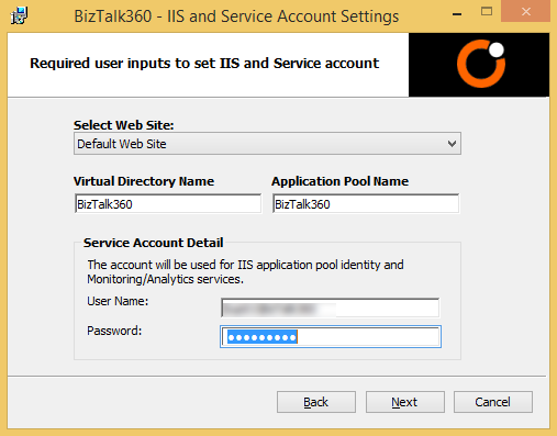 biztalk360 iis settings screen
