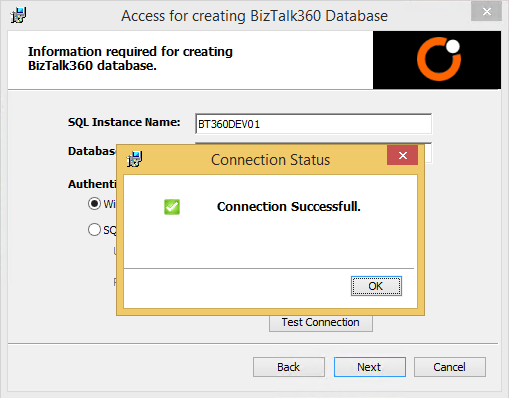 craeting biztalk360 database