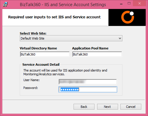 biztalk360 service accounts settings