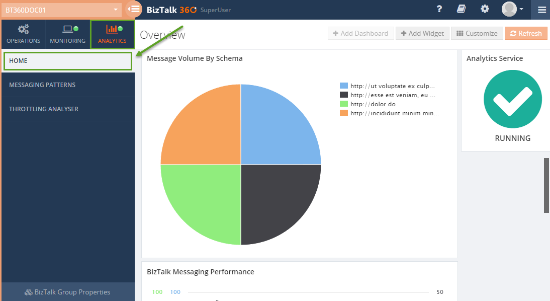 biztalk360 analytics window