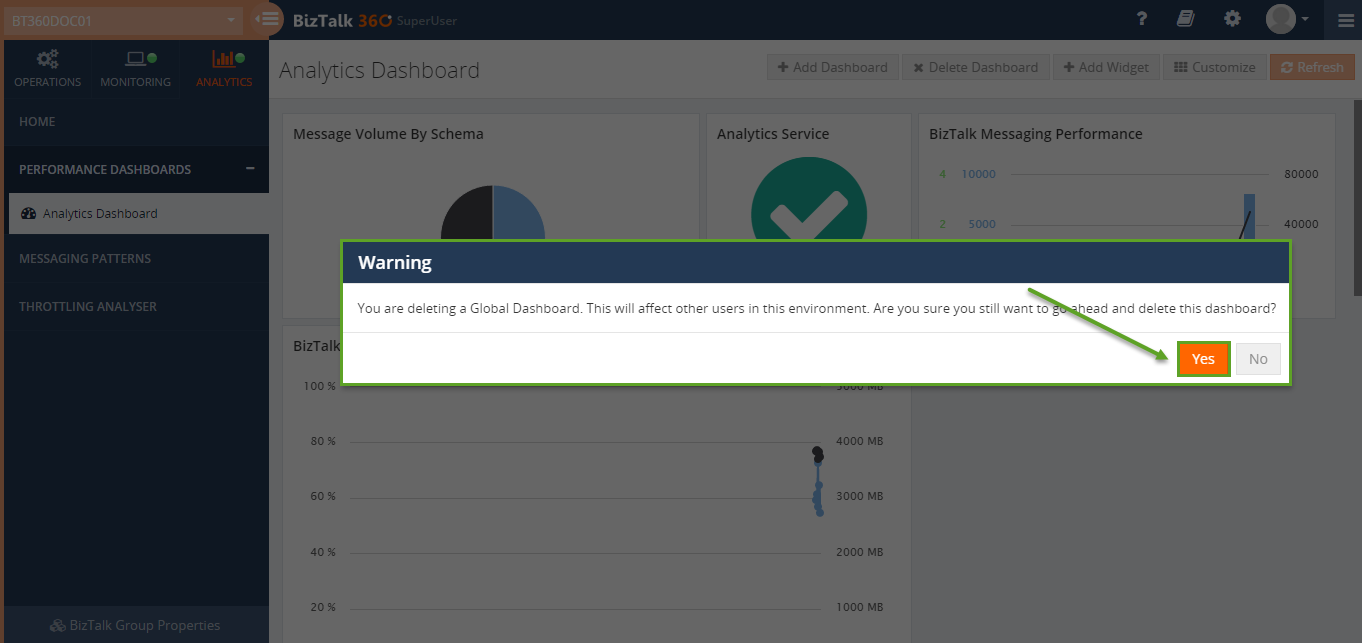 deleting a dashboard from biztalk360 analytics