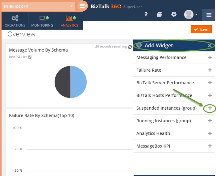 adding a widget in biztalk360 analytics