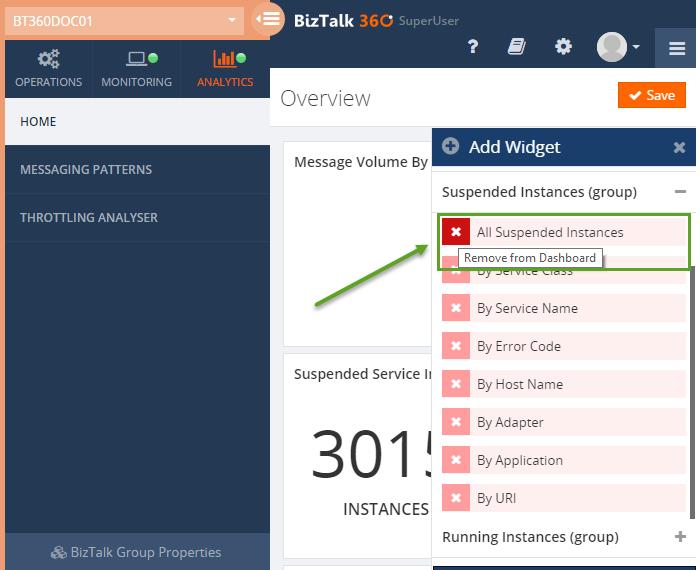 suspended instances as widgets in biztalk360 analytics
