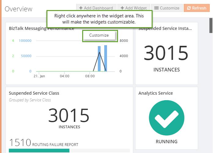 widget customizing in biztalk360 analytics
