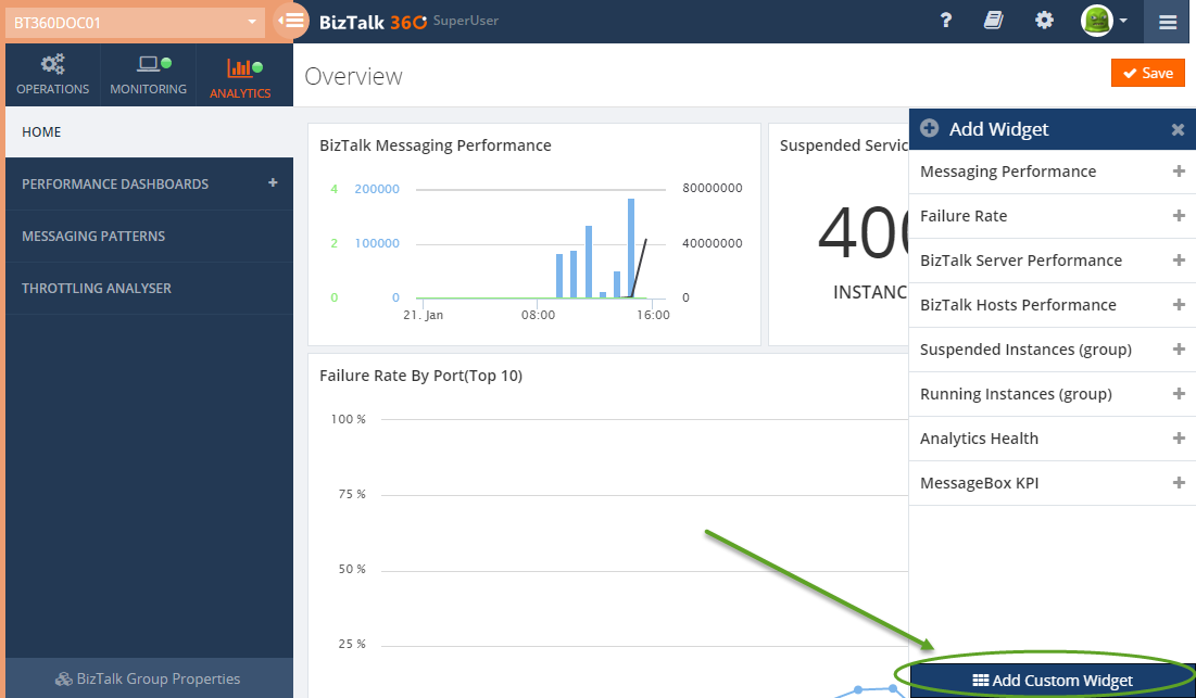 adding a custom widget to analytics dashboard