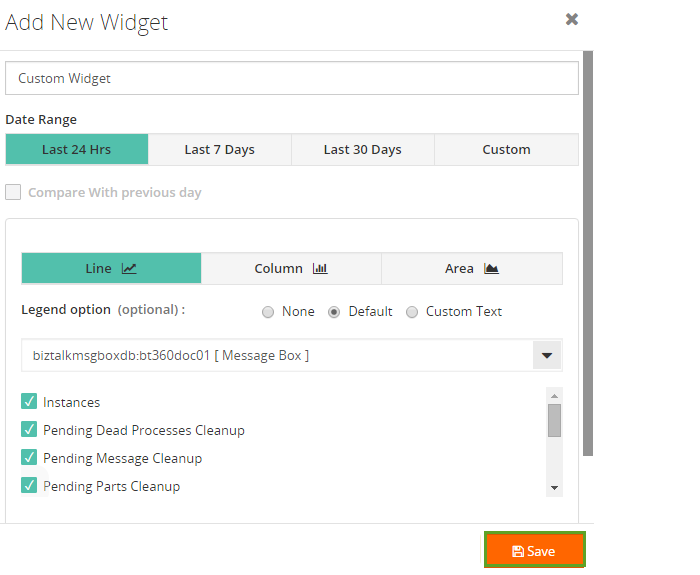 adding a new custom widget to biztalk360 analytics