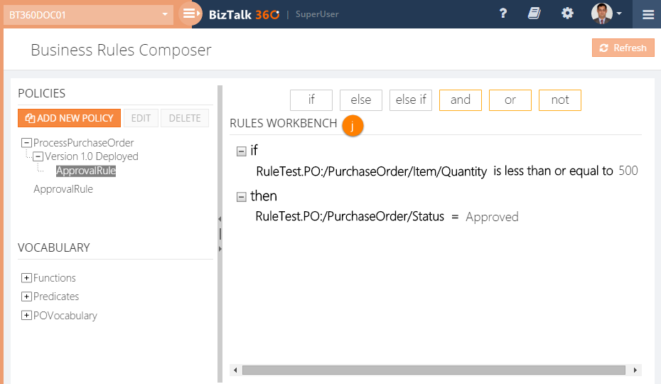 add new business rules composer policy