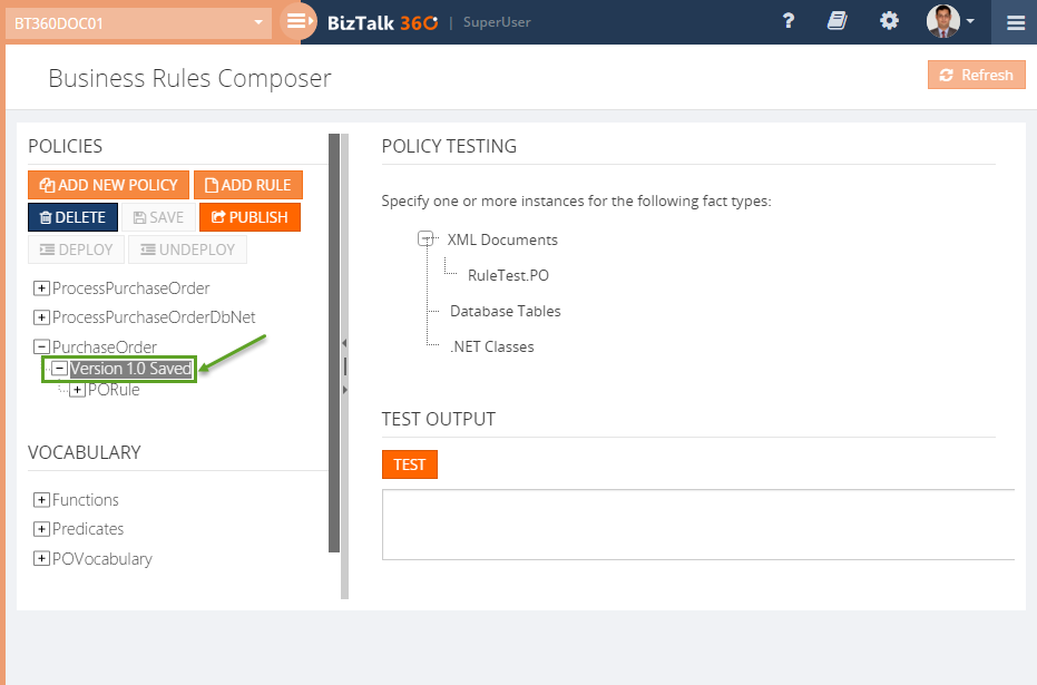 BizTalk360 Business Rule Composer policy version testing