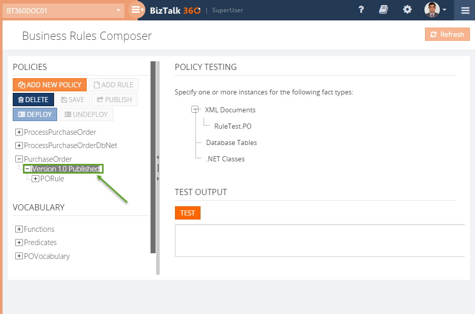 new version policy of BizTalk360 Business Rule Composer