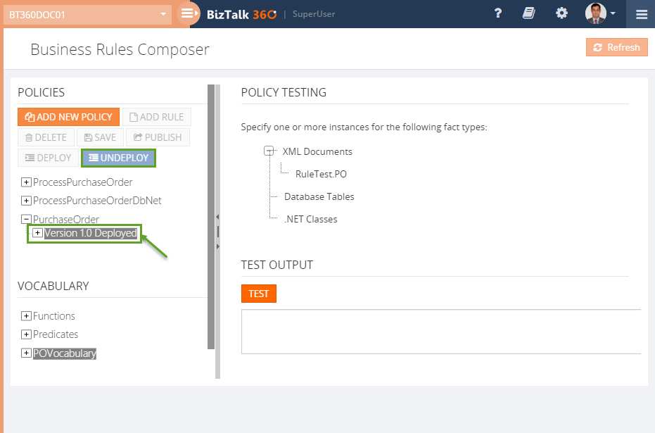 new policy version deployed using BizTalk360 Business Rule Composer