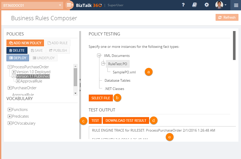 BizTalk360 Business Rules Composer policy testing