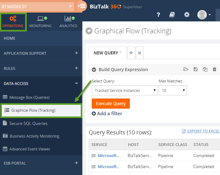 graphical flow tracking in biztalk360