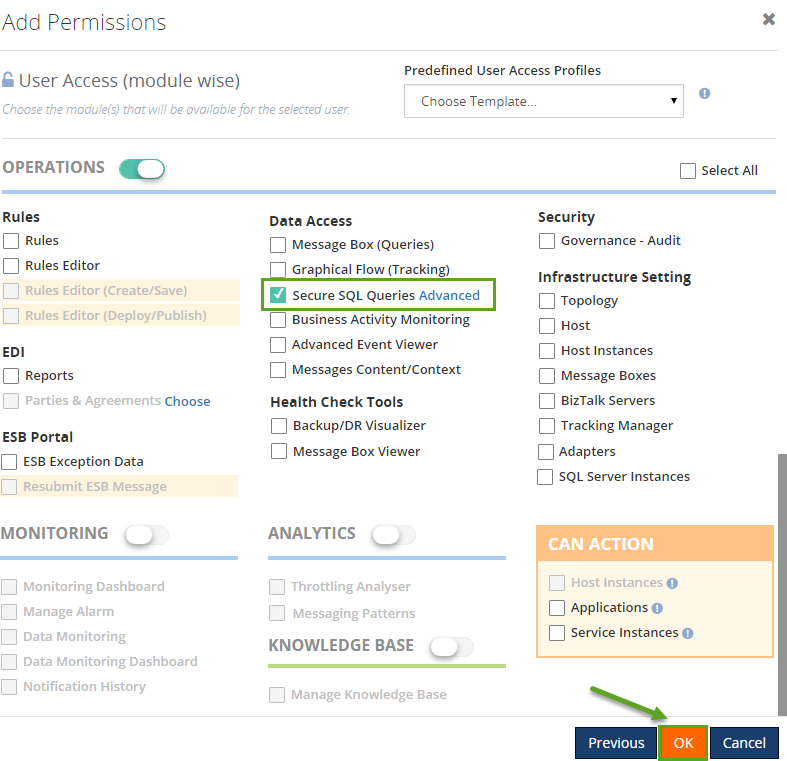 biztalk360 access permissions secure SQL queries
