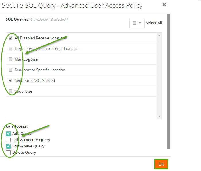 advanced user access policy settings in biztalk360