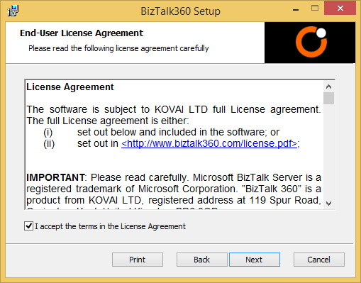 biztalk360 setup license agreement