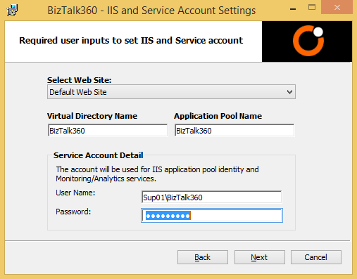 biztalk360 iis and service accounts settings
