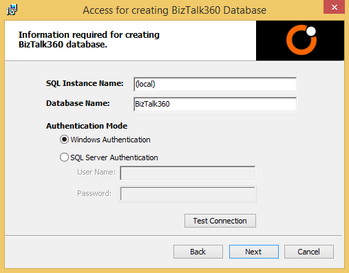 creating database in biztalk360