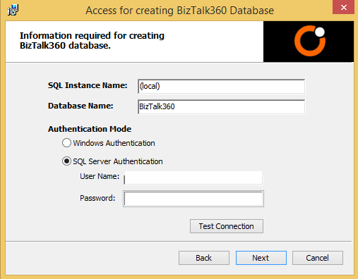 user access for biztalk360 database