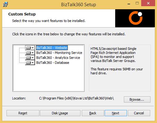 biztalk360 setup settings