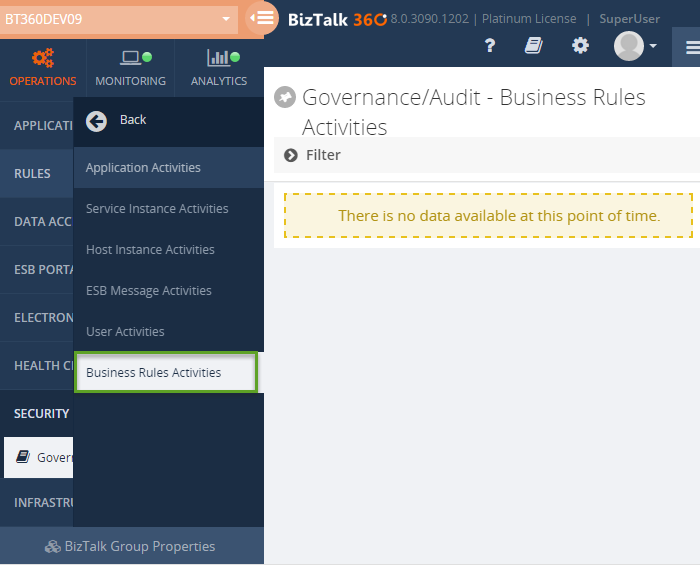 biztalk360 governance / audit business rules activities