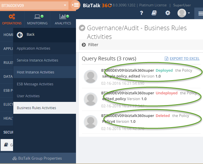 auditing biztalk360 business rules activities