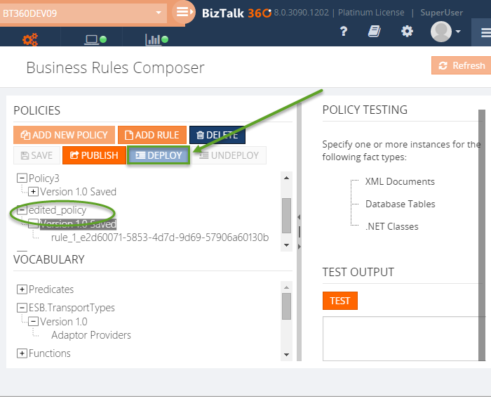 deploy biztalk360 business rules policy