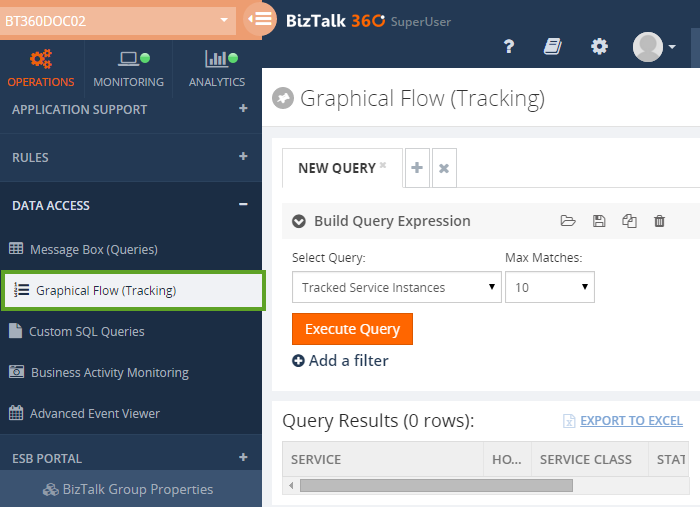 graphical flow tracking query results window