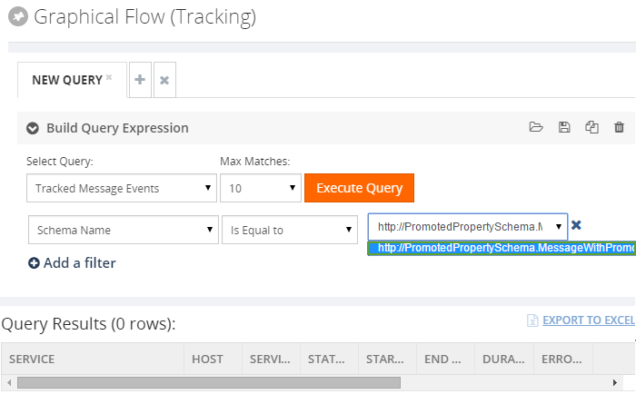 execute new query for graphical flow tracking
