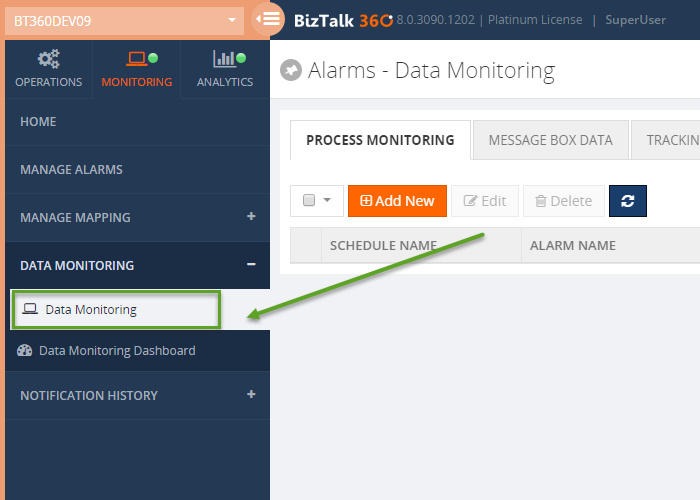 biztalk data monitoring window