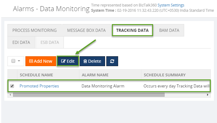 biztalk360 data monitoring alarms