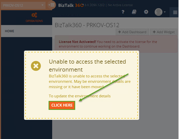 unable to access biztalk environment