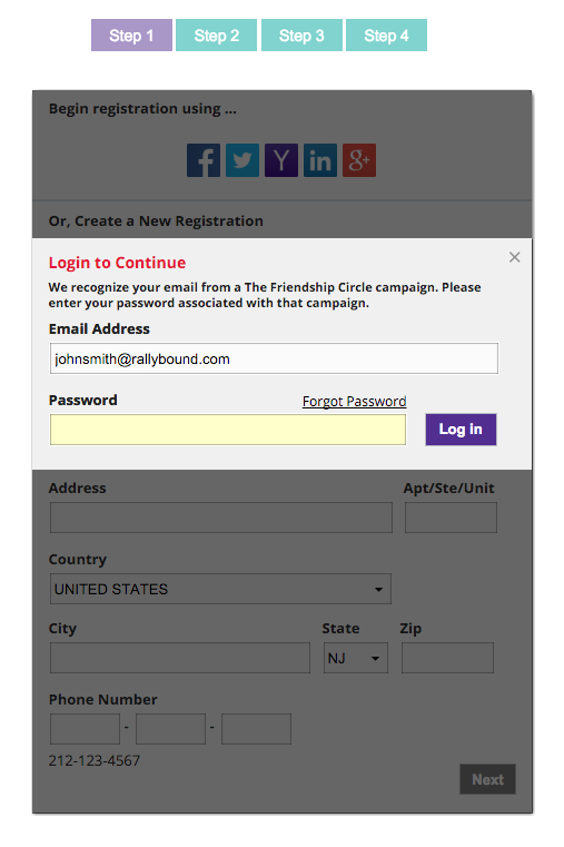 Detailed Registration Returning User