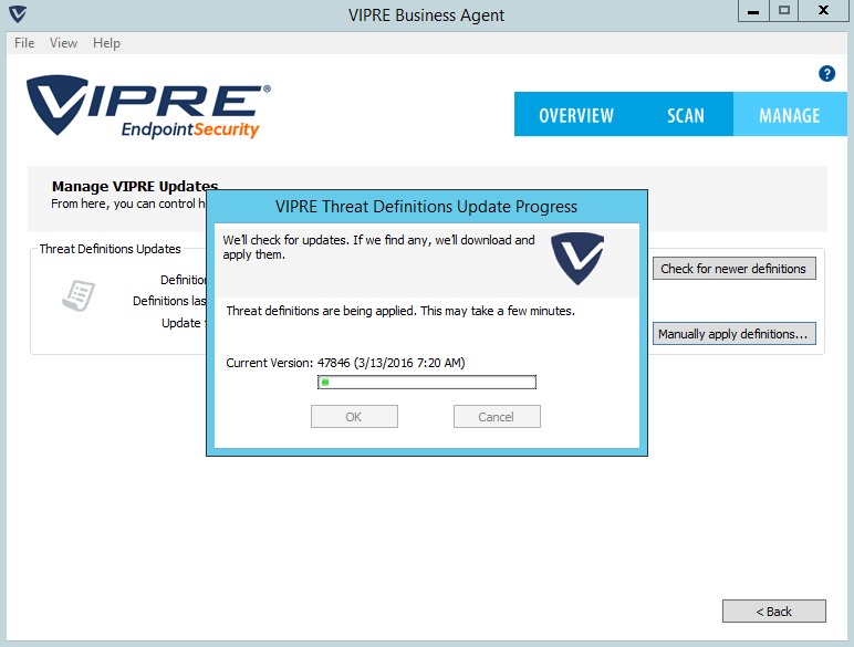 VIPRE Antivirus out to date with the latest definitions available