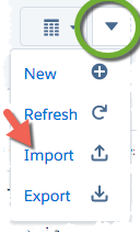 Workspace: More - Import