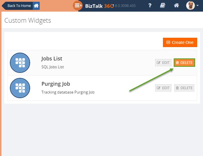 Remove custom widgets from Dashboard | BizTalk360 v8.0 ...