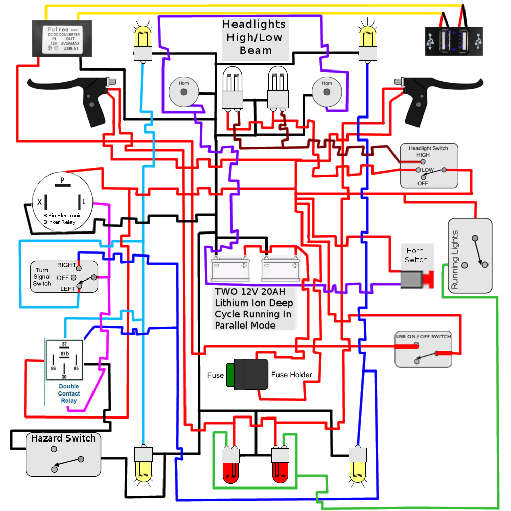 Installing Turn Signals Electricscooterpartscom Support Lamp Holder Wiring Diagram Hopefully This Solves All Issues Had To Repost As I Saw A Small Cross Error That Be Fixed