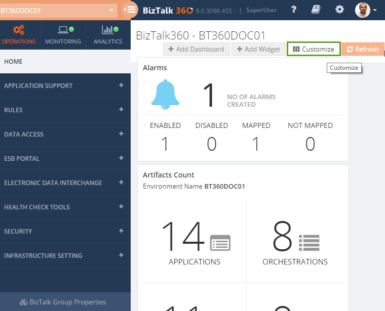 different customization operations in biztalk360 widgets