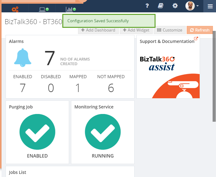 widget resized in biztalk360 dashboard